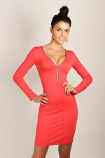 Sexy & Elegant Stretch Ladies Dress with Zip V- Neck Dress Size 8-12 8922