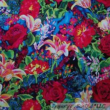 BonEful Fabric FQ Cotton Quilt Rainbow Water*Color FLOWER Garden Pink Rose Lily