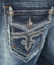 Sz 38 New Rock Revival Mens Jeans MATTY Straight Flap Pocket Distress Destroy
