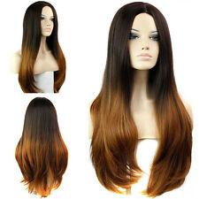 Women's Straight Wavy Hair Long Natural Full Wigs Ombre Cosplay Party Fashion