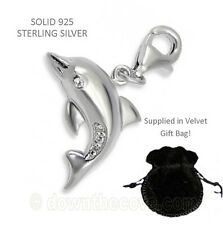 Silver Dolphin Charm - Solid 925 Sterling Silver & Crystal Charm - Lobster Clasp