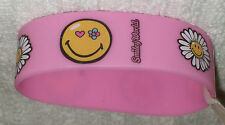 RUBBER WRISTBANDS *** SMILEY FACE *** NEW - 25 cm - COLOUR PINK/YELLOW/WHITE