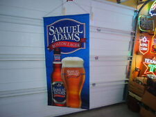 LARGE SAM ADAMS LAGER CLOTH BANNER BEER BAR SIGN UNUSED 30 X 62 GREAT COLOR