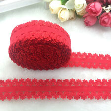 "NEW 5 Yards 3/4"" 20mm Red Multirole Fold Over Elastic Spandex Lace Band"