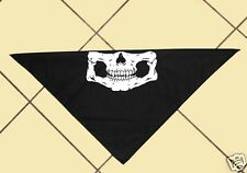 "Black Bikers Skull Bandana, Motorcycle, Motor Sports, Halloween, Cotton, 21"" Sq."