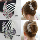 Women Crystal Rhinestone Petal Tuck Comb Flower Hair Pin Hair Clip Hairpin Good