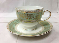"WEDGWOOD ""COLUMBIA SAGE GREEN"" LEIGH TEACUP & SAUCER BRAND NEW MADE IN ENGLAND"