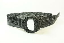 COOL CASUAL LADIES BLACK CRISS-CROSS BELT CIRCLE DOUBLE BUCKLE FASTENING (SC26)