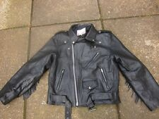 BLACK LEATHER VINTAGE FRINGED TASSLED BIKERS / ROCKERS JACKET 40 INCH CHEST