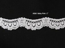 """5 yards @ 7/8"""" wide*Baby Pink scalloped swag Lace*Re-Embroidered Fabric Trim"""