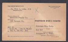 1955 OFFICIAL P.O. CHANGE OF ADDRESS FORM FROM ST PAUL MINN POSTAGE DUE 3c