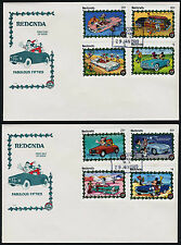 Redonda Disney stamps on FDC's - Christmas, Fabulous Fifties Cars, Aircraft