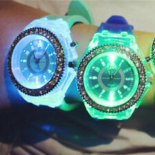 7Colors Women LED Backlight Crystal Quartz Wrist Watch Sport Waterproof for Lady