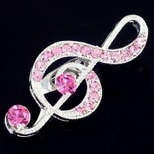 #P476K Sparkly 4cm Pink Treble Clef Pin Brooch Crystal Music Note Teacher Gift