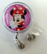 Disney Minnie Mouse Retractable Badge Name Tag ID Holder, Glitter 3D  Dome