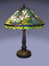Tiffany Style Stained Glass Green Calla Lily Table Lamp New BUY 2 GET 10% OFF