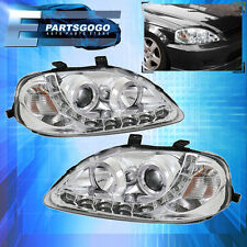 1999-2000 Honda Civic JDM LED Halo DRL Projector Headlight Pair LH RH Upgrade