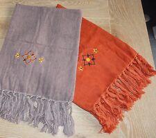 Lot de 2 serviettes éponge brodées à franges La Redoute lot neuf  50 cm x 100 cm