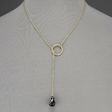 Gold Thin Chain Black White Stone Ring Pendant Bohemian Style Simple Necklace