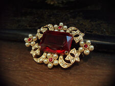 Vintage Emerald Cut Ruby Red Crystal & Pearl Brooch