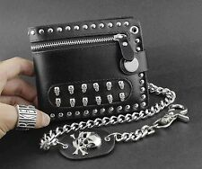 Mens Rock Punk Rivet Biker Skulls Money Black Leather Zipper Wallet With A Chain