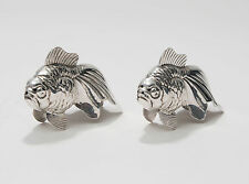 Pair Vintage Swiss Meister 800 Grade Silver Metal Goldfish Salt & Pepper Pots