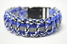Paracord Running Survival Bracelet with Reflective Band Walking (Blue/White)