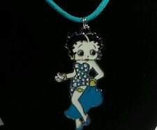 Blue Polka Dot Betty Boop Pendant on Suede Cord Necklace w/ Lobster Clasp