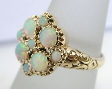 R107 - Genuine 9ct 9K Yellow Gold NATURAL Solid Opal Blossom Floral Ring size N