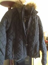 New A&F Abercrombie & Fitch Grey Woman Coat With Hood And Removable Fur. Size L.