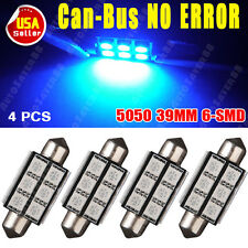 4 X Ultra Blue Canbus Error Free Festoon 39MM 5050 6SMD Dome Map Interior Lights