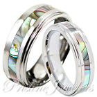 His Hers Tungsten Carbide Men Silver Wedding Band Promise Ring Abalone Shell SET