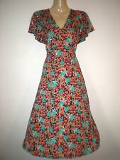 NEW VINTAGE 50'S STYLE FLORAL PRINT ROCKABILLY TEA DRESS SIZE 10