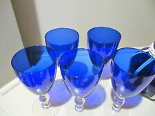 Vintage Water Set Cobalt Blue Pitcher 5 Stems White wicker Piping on Pitcher
