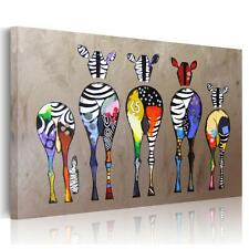 HD Abstract Wall Art Painting Print  On Canvas Colored Zebra Unframed Poster