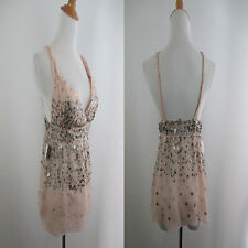 NEW W TAG ZARA WOMENS SZ S SMALL NUDE PINK SILVER SEQUINS STRAPPY TANK CAMI TOP