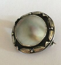Antique Arts & Crafts silver & mother of pearl brooch