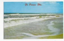 Vintage Postcard Ft. Pierce FL Breakers Along the Shore Florida