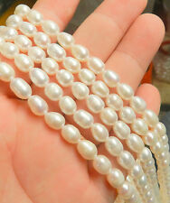 6-7mm White Freshwater Pearl Rice Beads String 15inchs