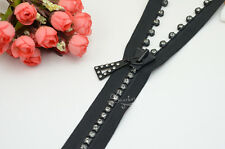 1 pcs 100cm long RHINESTONE ZIPPERS BLACK Great for Western Shirt