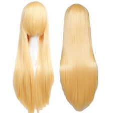 Golden Blonde Long Full Head Wig Straight Cosplay Party Fancy Synthetic Hair Wig