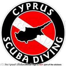 "CYPRUS SCUBA DIVING Flag-Cypriot Map Shape 100mm (4"") Circular Sticker Decal"