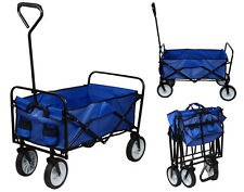 Folding Utility Wagon Collapsible Garden Cart Shopping Beach Toy Sport Cart Blue