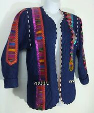 """Marie' Blue Quilted Ethnic Mexican Native Inspired Jacket Coat Womens Sz Medium"