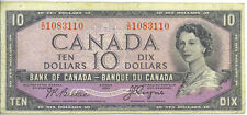 Bank of Canada 1954 $10 Ten Dollars Devil's Face Portrait I/D Prefix F/VF