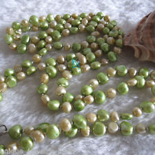 """52"""" 5-6mm Champagne Green Baroque Freshwater Pearl Necklace"""