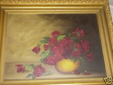 ANTIQUE VICTORIAN 19TH C RED ROSES ROSE FLORAL STILL LIFE OIL PAINTING OLD