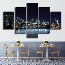 5 Piece Creative New York City Landscape Bridge Picture Wall Art Decor Painting