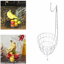 NEW Chrome Banana Hanger Tree Holder Fruit Storage Bowl Basket Stand Hook Orange