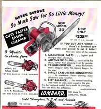 1953 Print Ad Lombard Chain Saws Model 30, 3A, 5, Ashland,Massachusetts